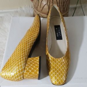Stuart Weitzman Yellow Snake Block Heel Shoes 6